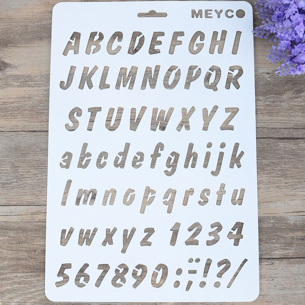 Lettering Stencil Number Letter Alphabet Stencils Painting Paper Craft Cards CB