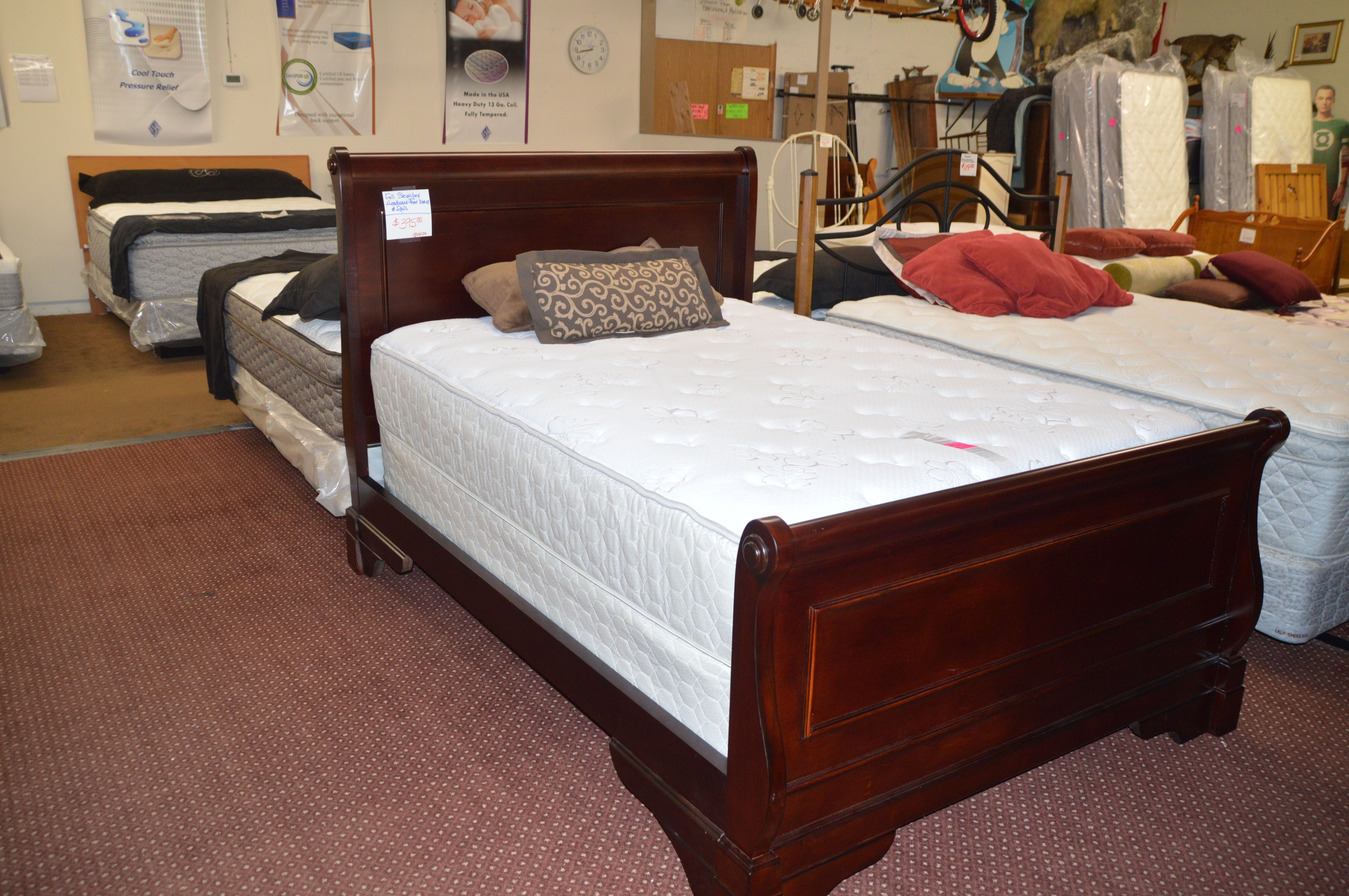 Wood Full Size Sleigh Bed Frame. Sleigh bed frame, Bed