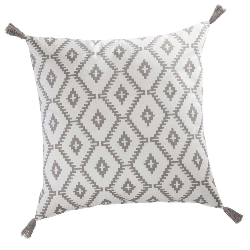 coussin gris et blanc Coussin en coton gris/blanc 60 x 60 cm LOGANCIA | Déco Scandinave  coussin gris et blanc