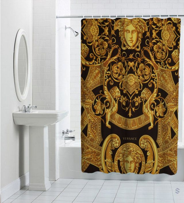 Versace Custom Pattern Gold Design Shower Curtain Cheap And Best Quality 100 Money Back Guarantee