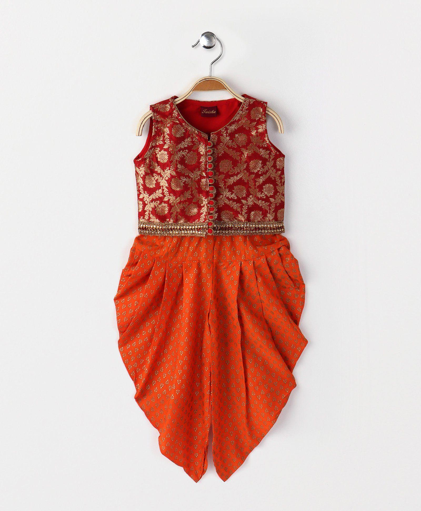 068695913cf389 Buy Twisha Brocade Blouse With Dhoti Red & Orange for Girls (5-6 Years