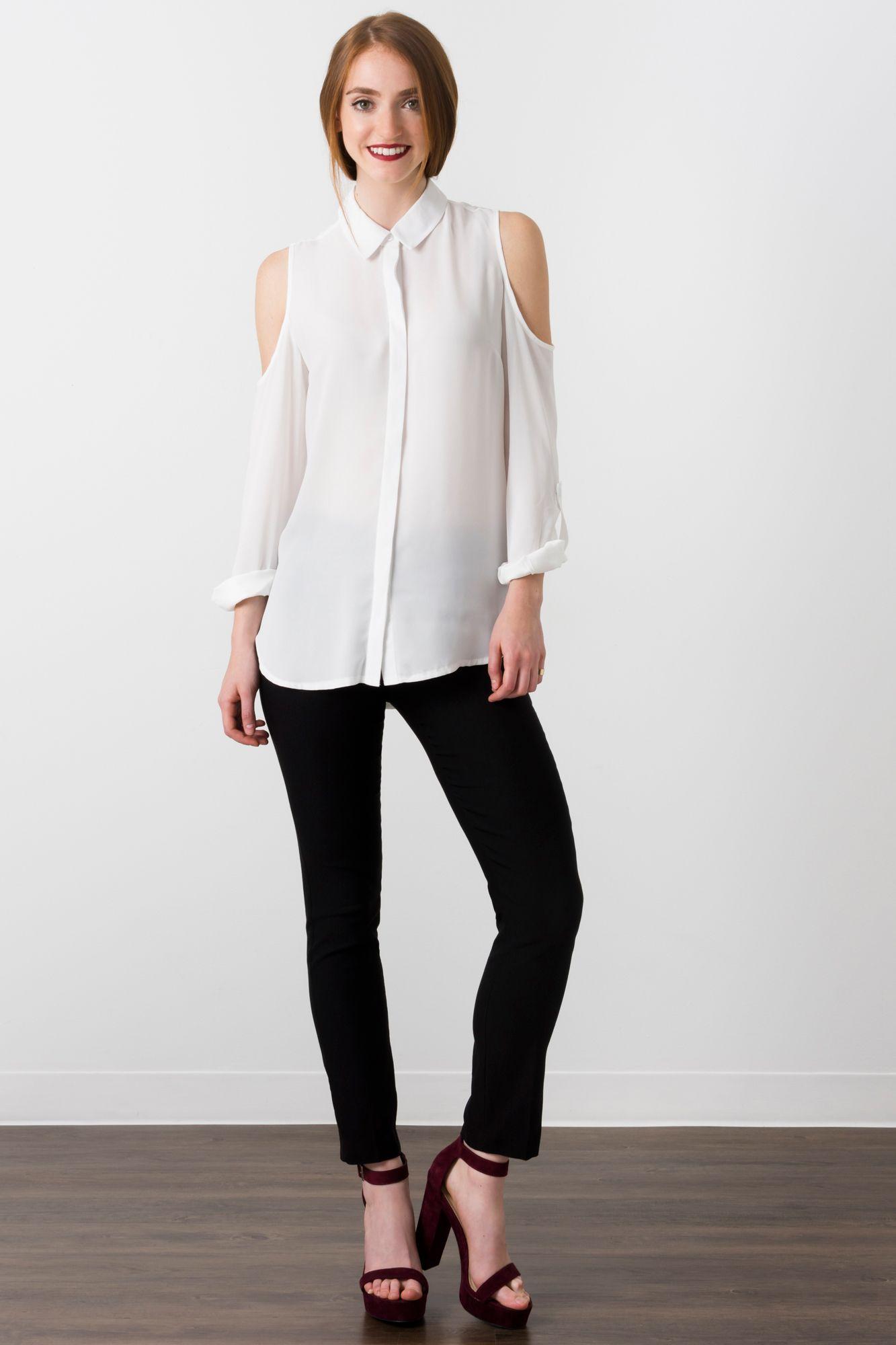 Suzy Shier Cold Shoulder Button Down Blouse