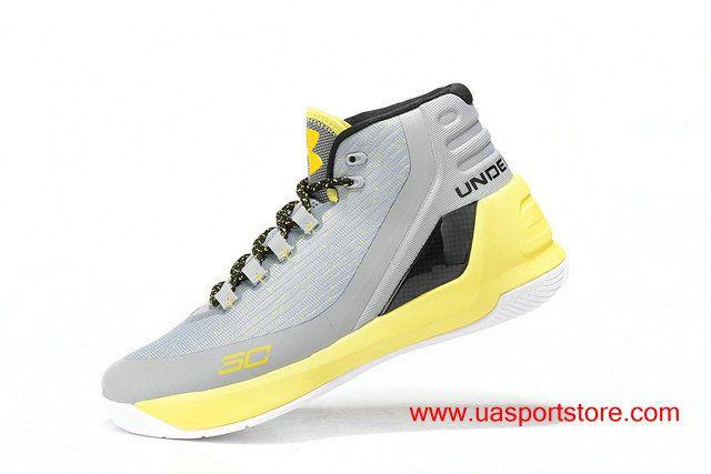 purchase cheap 4cabc 0e2fa Men s Under Armour Curry 3 Light Grey Yellow Men s UA Basketball Shoes