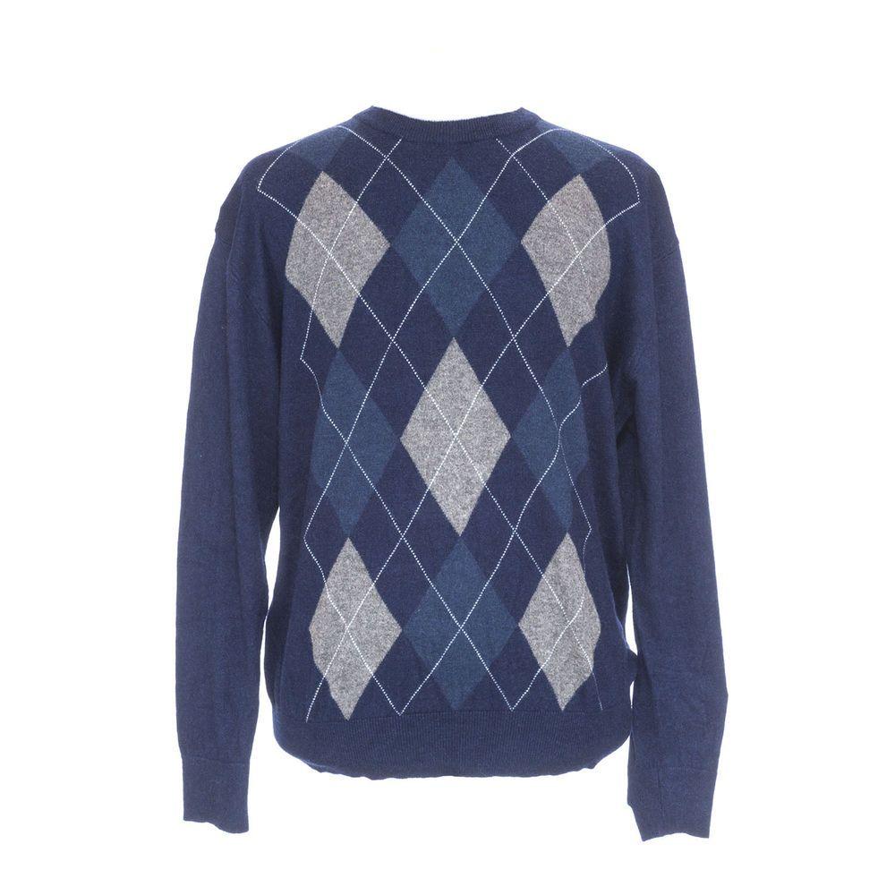 Mens Sweater Blake & Manley Sz XL Silk Cashmere Blue Argyle NWOT #BlakeManley #Crewneck