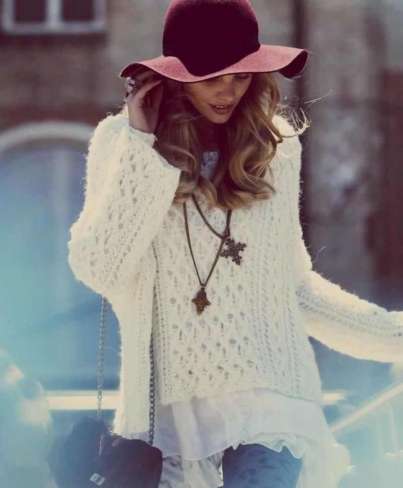Chunky sweater and floppy hat :)