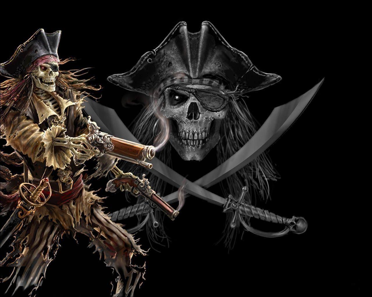 pirate Dark Skeleton Pirate wallpaper from Skulls