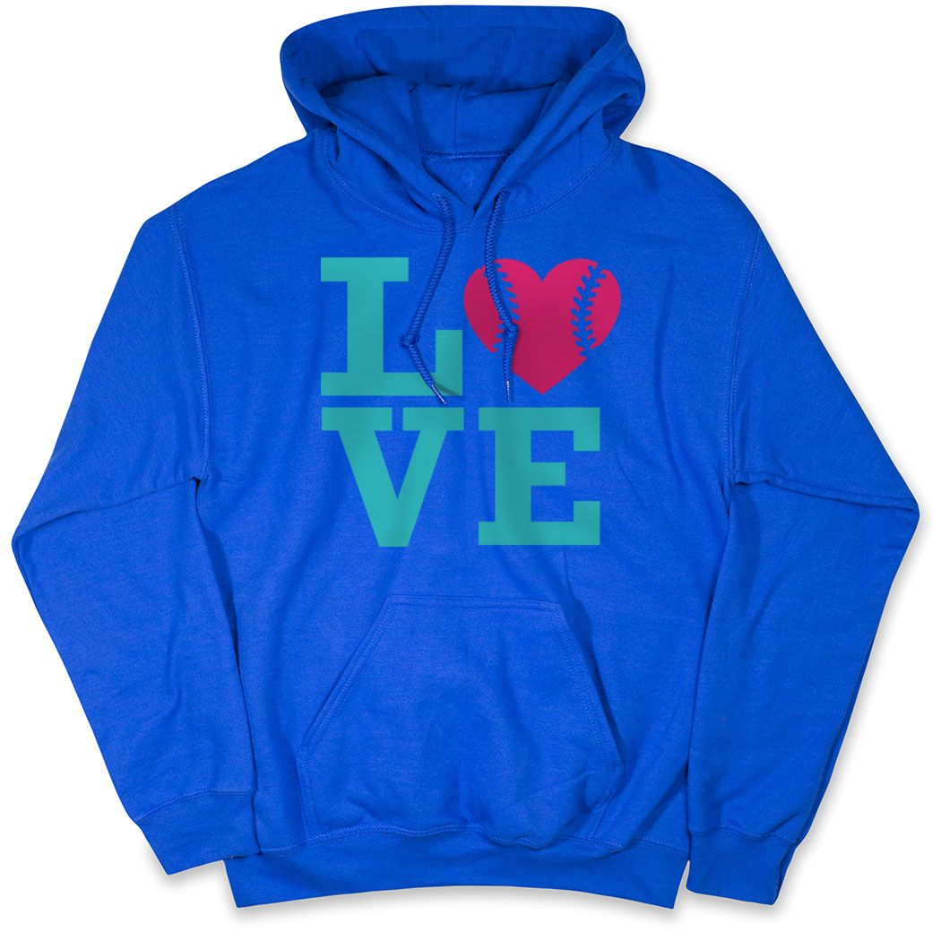 Softball Hooded Sweatshirt – LOVE Softball Pink Teal | Blue, AXL, Female | Softball Hoodies