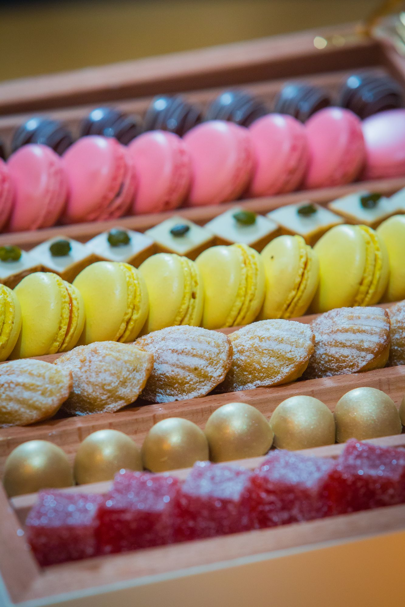 Delicious Homemade Petit Four Selection of chocolates, macarons and jellies. Available at the Gresham Restaurant.