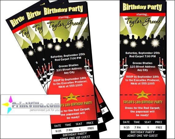 Red Carpet Paparazzi Ticket Invitations by PrintVillaInvites - party ticket invitations