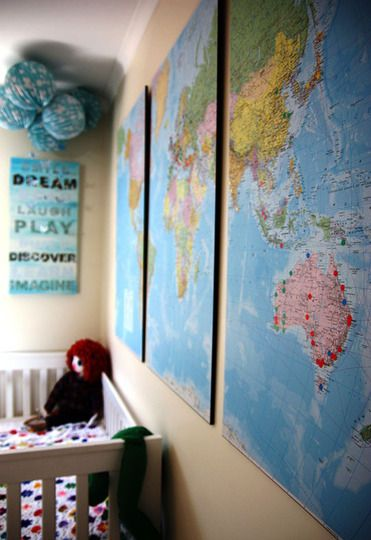 Using a map split into three as wall decor.