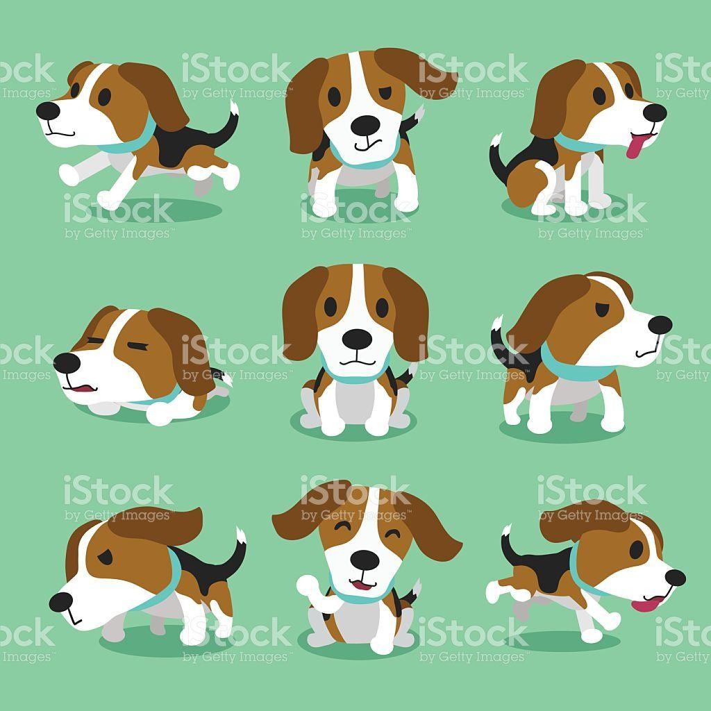 Cartoon character beagle dog poses for design. | Pinterest | Perro ...