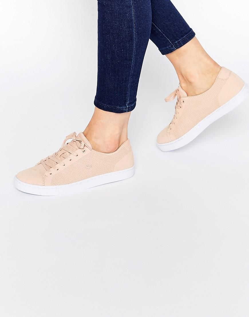 Lacoste Showcourt Lace 3 Nude Leather Trainers at asos.com