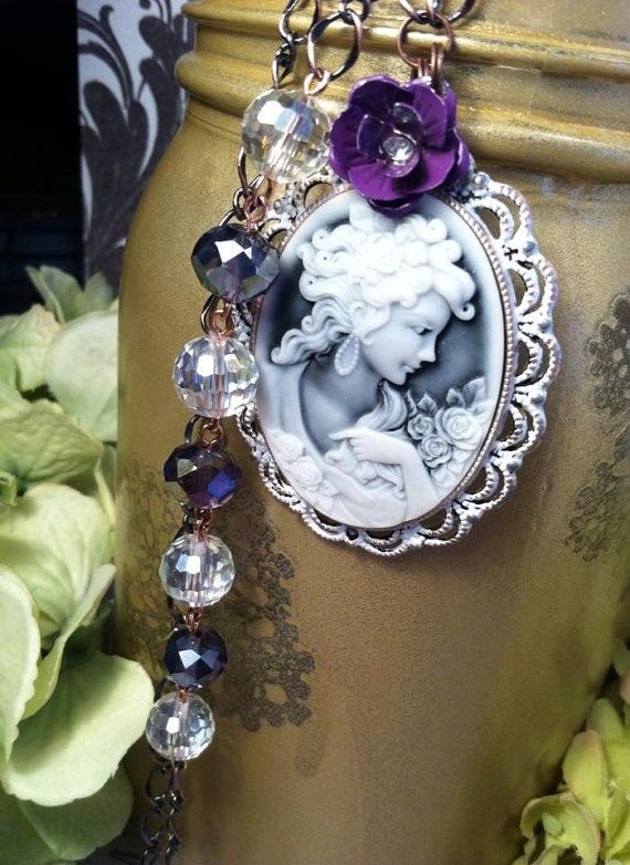 Romantic Cameo Necklace by RachelsOriginalGifts on Etsy  ~ Jewelry So Adorable It's ADORNable  TO ORDER: Please visit my FB and/or Etsy pages at the following links!  www.facebook.com/RachelsOriginals  www.rachelsoriginalgifts.etsy.com