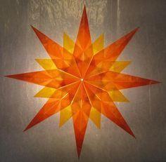 Orange/Gelber Stern - 16 Zacken - Sterne aus Transparentpapier | Sterne Basteln - Basteln toller Sterne