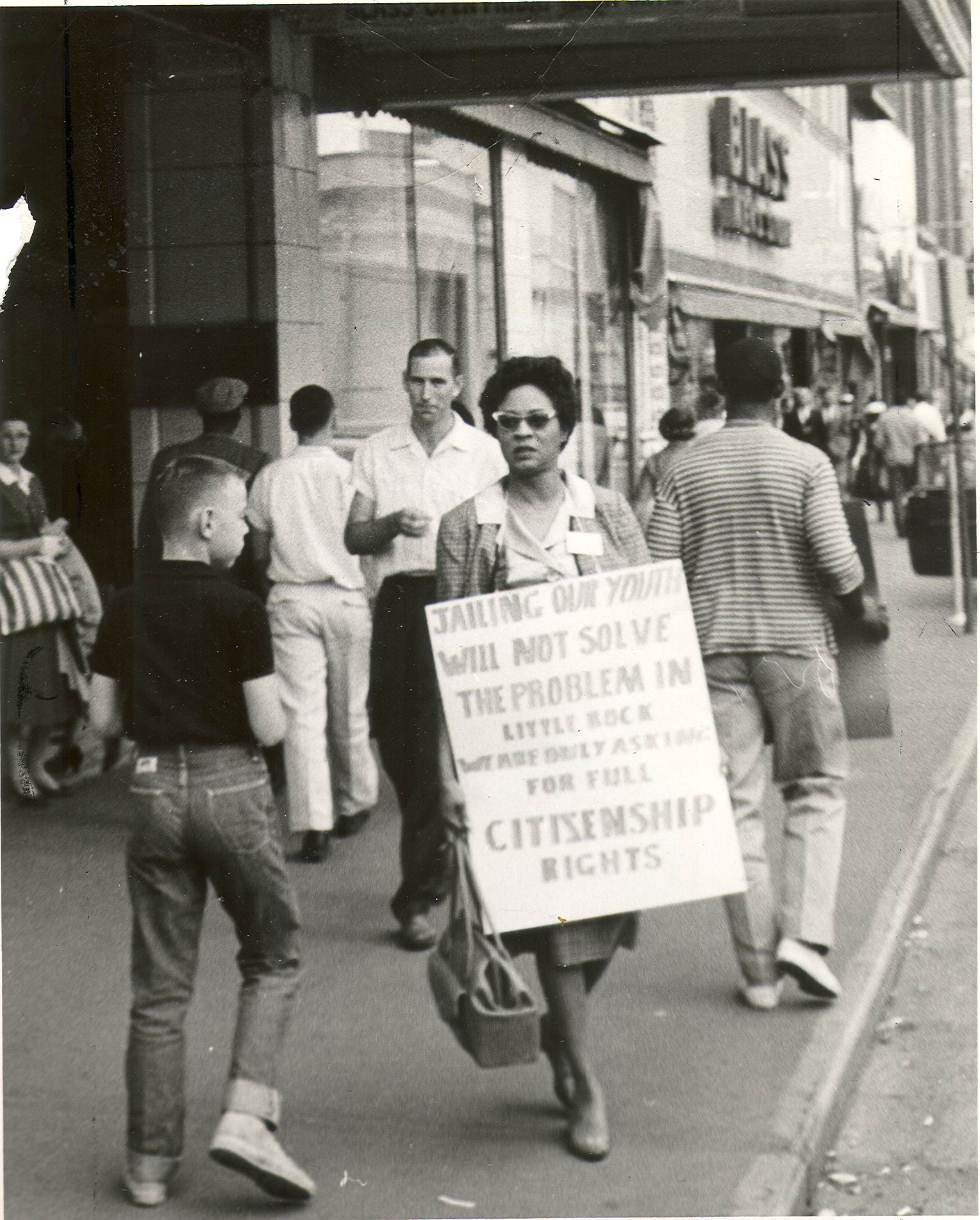 Daisy Bates protesting for integration. Asking for full citizenship rights  should not be a crime.