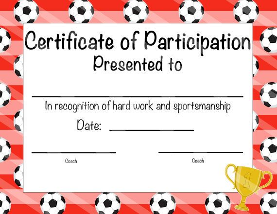 Soccer Certificate Of Achievement - Soccer Award - Print At Home