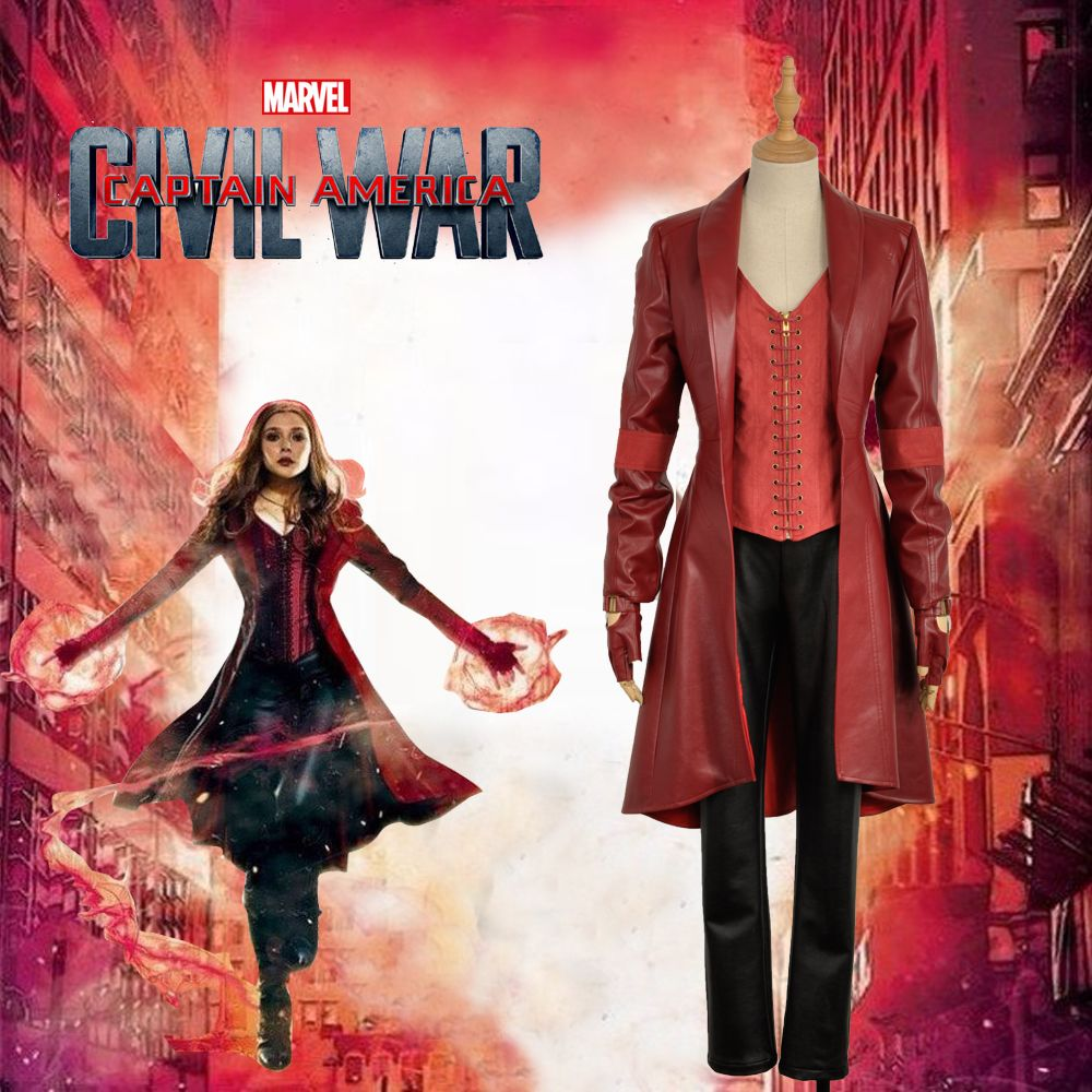 New 2016 Marvel's Captain America :Civi War Scarlet Witch Cosplay Costume Red Battleframe