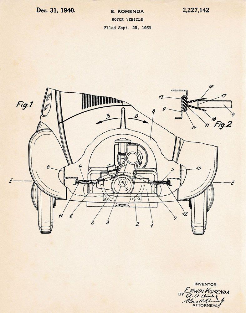 1940 VW #Volkswagen Bug Beetle Patent Print Wall Art Poster Patent - copy famous blueprint art