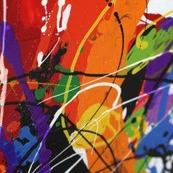 Cuadros modernos abstractos multicolor d ptico lienzo for Decoracion de interiores pintura