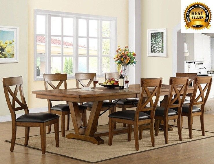 Large Extending Dining Table Set Wooden 8 Chairs Rectangular Home