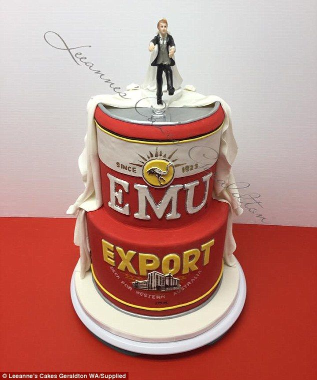 Couples Wedding Cake Shaped Like A Giant Can Of Emu Export Emu - Beer Can Wedding Cake