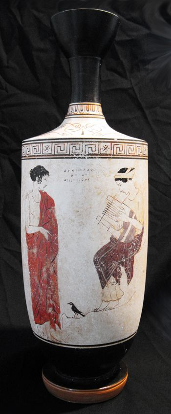 White Ground Lekythos Muse On Mountain Achillies Painter C 440 430 Bce Sicily Italy High Classical A Meander Is A Decorative Border Constructed From A