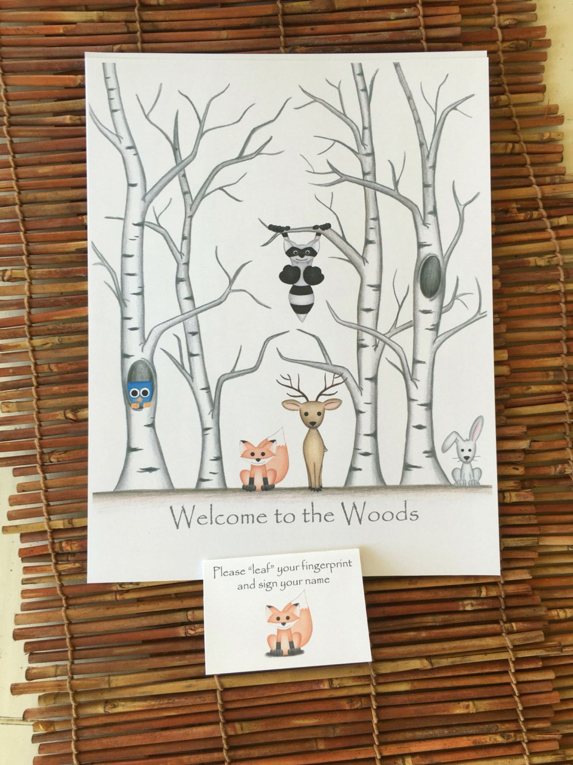 finger print tree guest book New baby art Baby shower game gift Customised family tree DIY download mommy to be gender neutral reveal