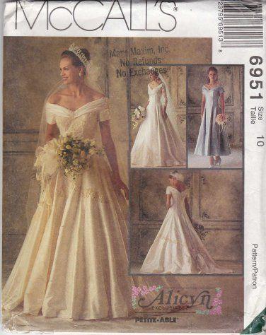 McCalls Sewing Pattern 6951 Misses Size 10 Alicyn Wedding Bridal ...