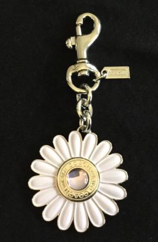 Coach Daphne Enamel Flower Silver Lilac Purple Bag Charm Key Fob