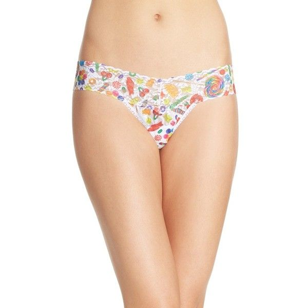 Hanky Panky 'Dylan's Candy Spill' Low Rise Thong ($26) ❤ liked on Polyvore featuring intimates, panties, candy multi, low rise thong, hanky panky, lingerie thongs, hanky panky lingerie and rainbow thongs