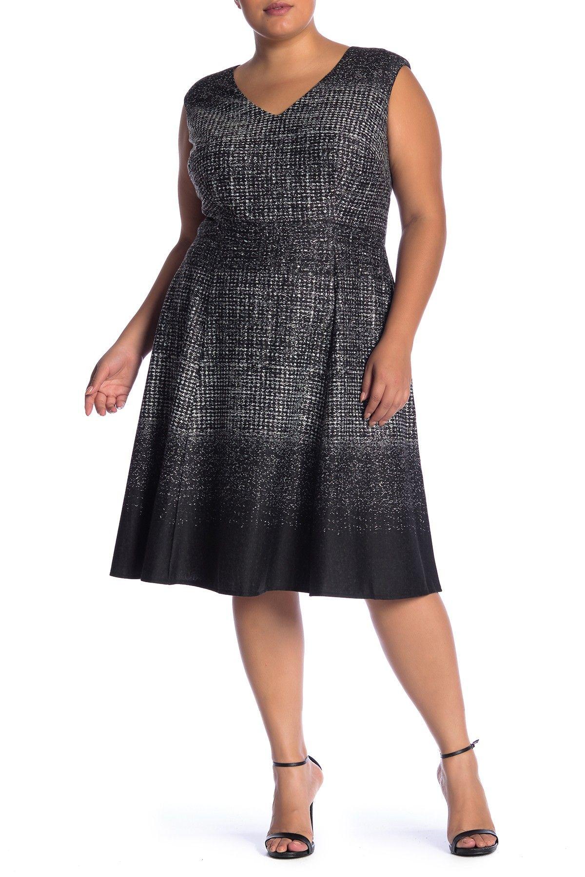 V Neck Fit Flare Dress Plus Size By London Times On Nordstrom Rack Fit Flare Dress Plus Size Dresses Plus Size Cocktail Dresses