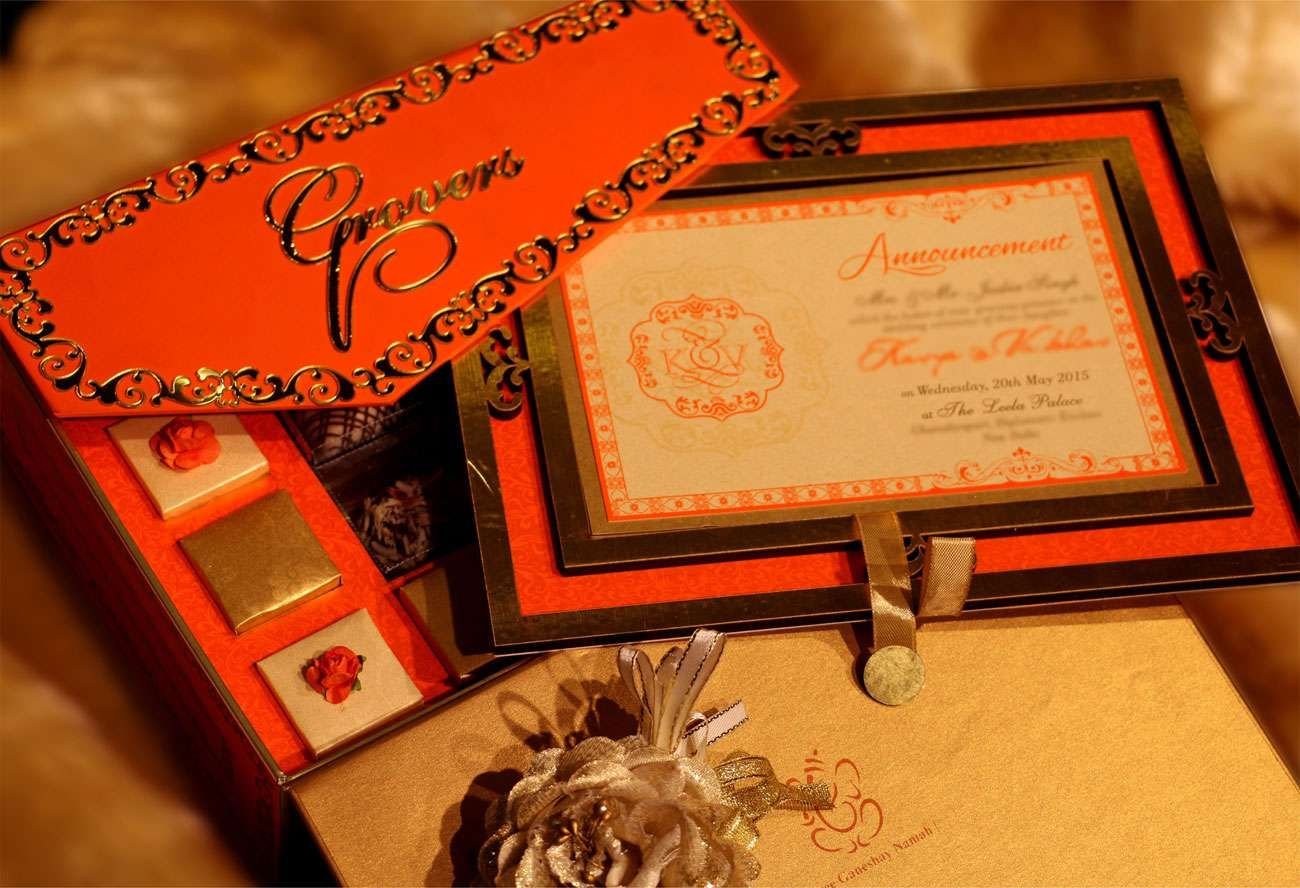 ELEGANT-ORANGE Wedding card designer invitation card by VWI New ...
