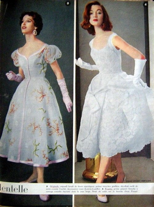 1954 Organza embroidered flowers water (Lanvin-Castillo) and white ...