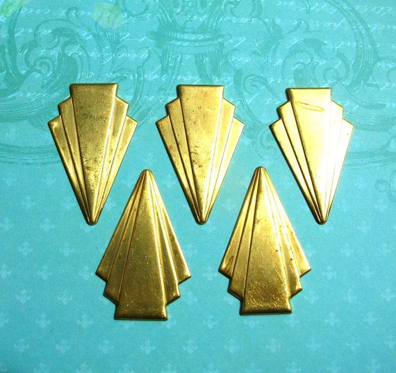 5 Art Deco brass stampings