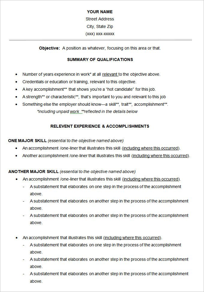 10+ Functional Resume Templates Free Printable Word  PDF