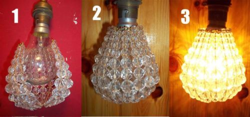 Light Bulb Glass Crystal Beads Cover Jacket Diy Lamp Chandelier
