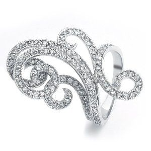 Bling Jewelry Art Deco Swirl CZ Fashion Cocktail Ring