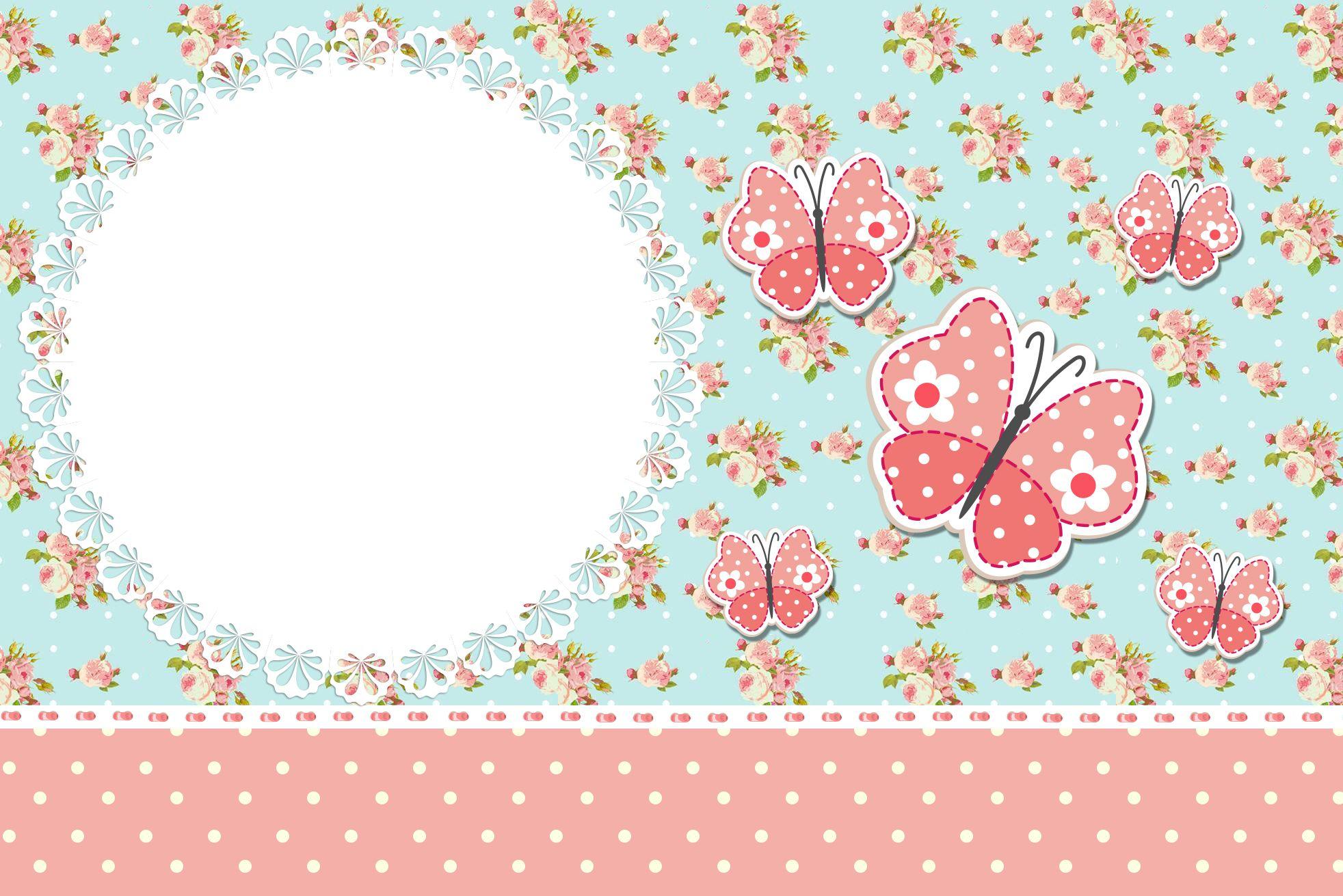 Convite 03 Jardim Encantado Vintage Floral  Kit Completo com molduras