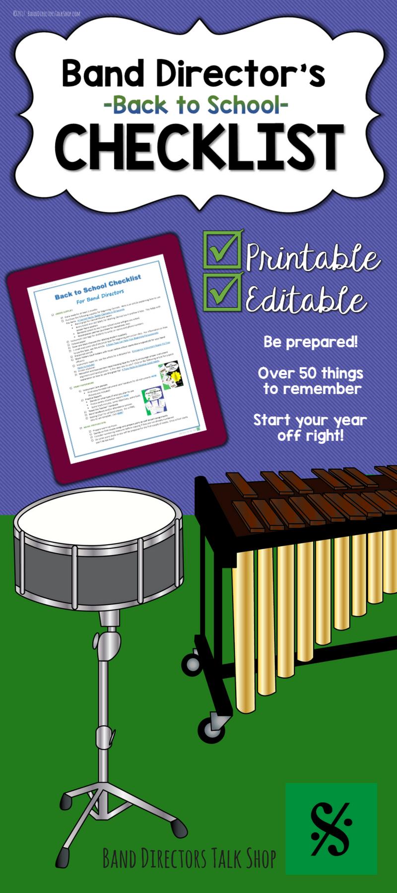 FREE Band Director BacktoSchool Checklist Visit Band Directors – Theory Worksheets for Beginning Bands