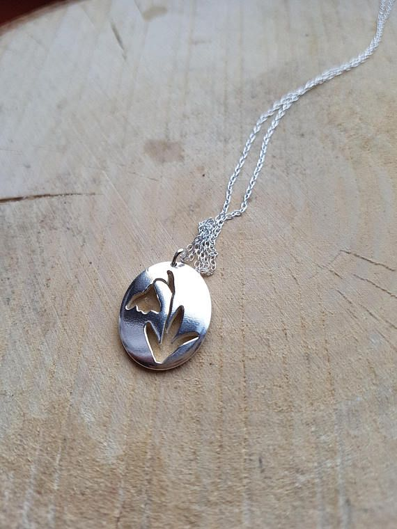 Snowdrop Silver Necklace Pendant Flower Necklace Floral Spring Necklaces Silver Necklace Flower Earrings Studs