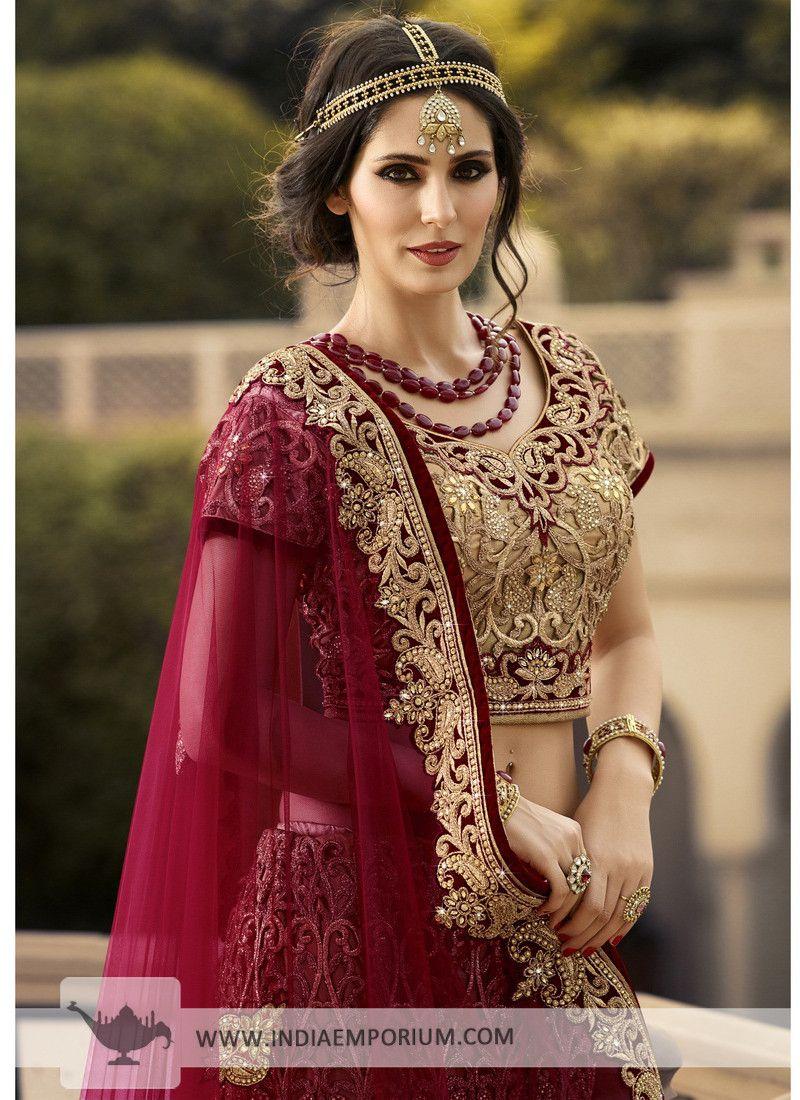 3294fabfe3aa3 Golden Exquisite Bridal Lehenga with Maroon Dupatta | Dresses in ...