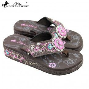 96cce45097ca5e SEH07-S008 Montana West Embroidered Platform Flip-Flops