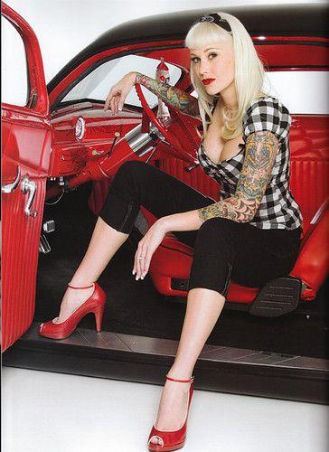 Tattooed car sales girl in asian showroom - 3 2