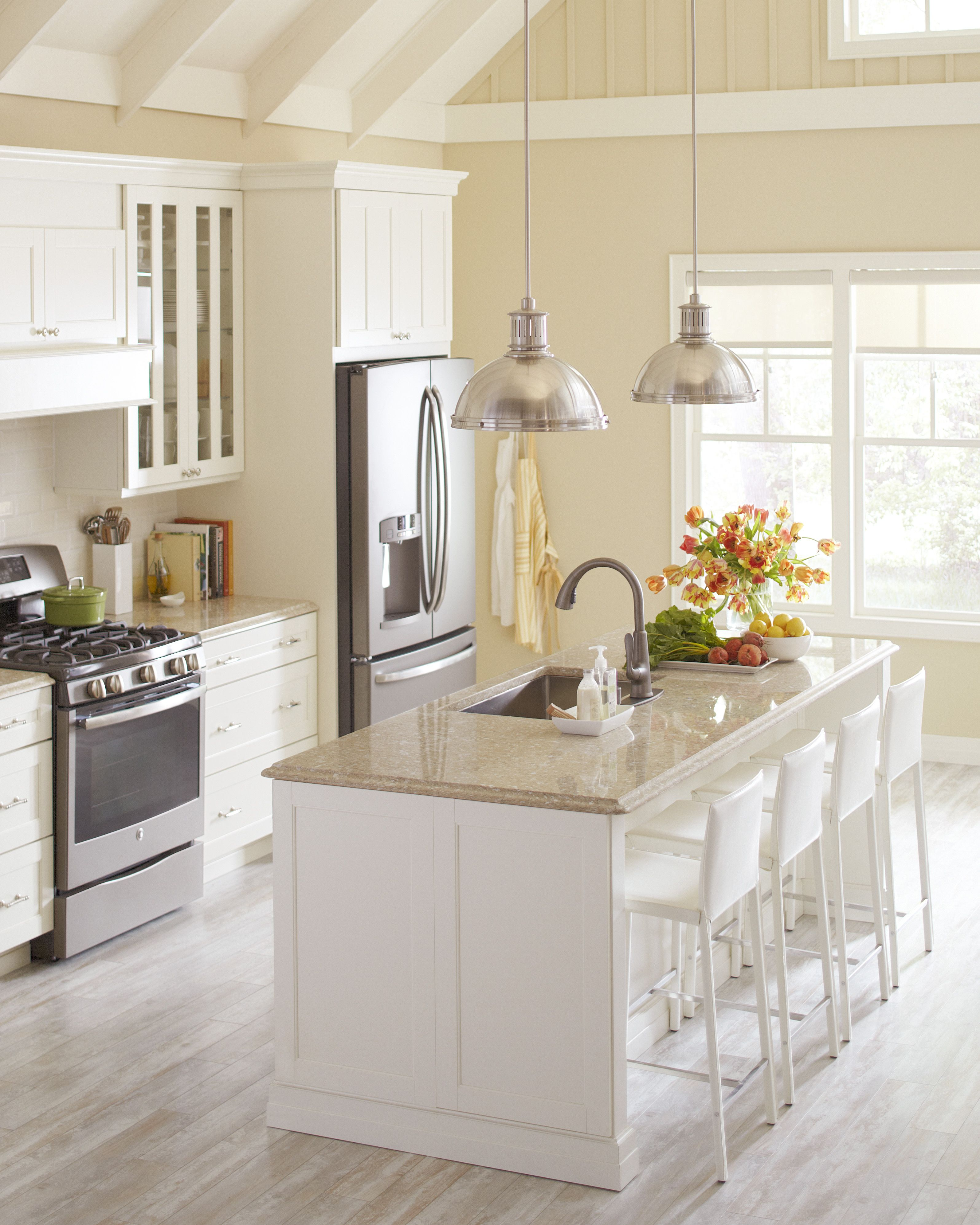 Download Wallpaper White Kitchen Cabinets With White Corian Countertops