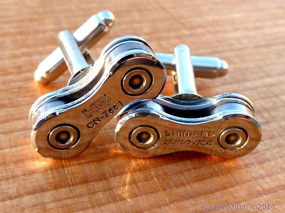 Cuff Links Mens Bicycle Chain Special Edition DURA by SpokenStitch, $28.00