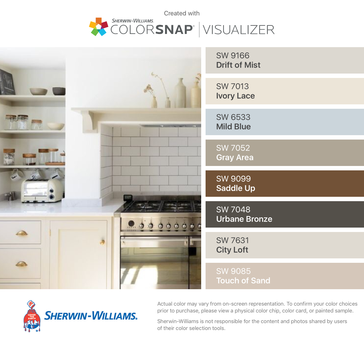 I found these colors with ColorSnap® Visualizer for iPhone by Sherwin-Williams: Drift of Mist (SW 9166), Ivory Lace (SW 7013), Mild Blue (SW 6533), Gray Area (SW 7052), Saddle Up (SW 9099), Urbane Bronze (SW 7048), City Loft (SW 7631), Touch of Sand (SW 9085). #cityloftsherwinwilliams