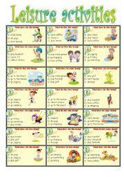 english worksheet leisure activities  educacion