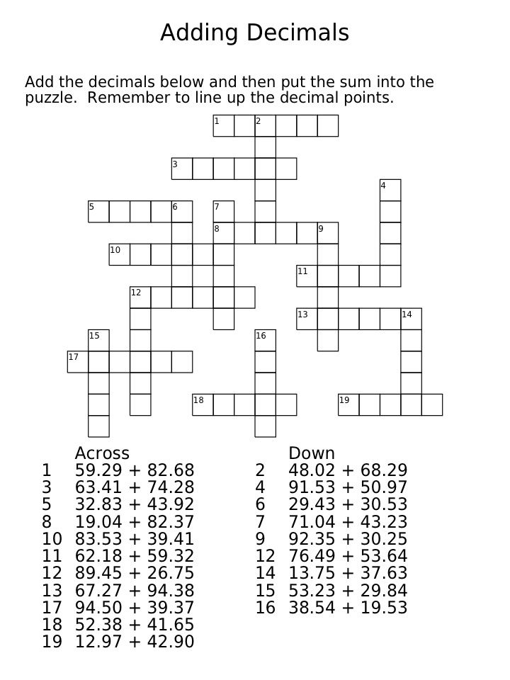 Decimal Crossword Puzzles - Rounding, Adding and Subtracting ...