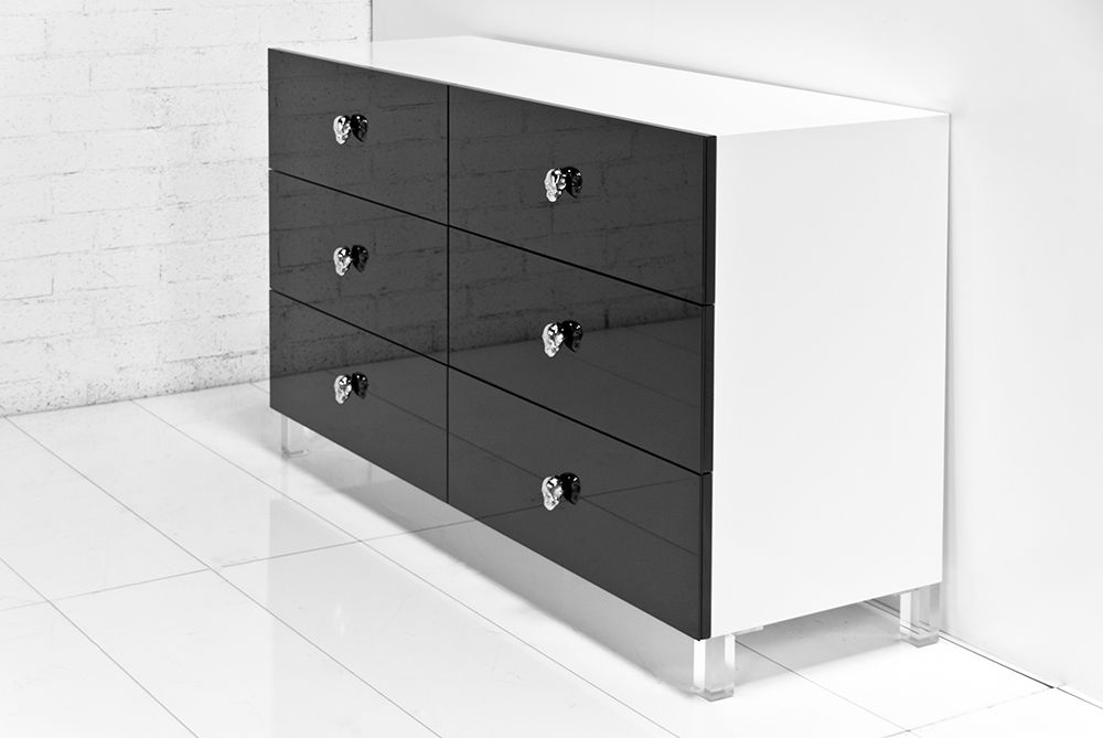 The Rocker Dresser In Gloss White And Black Glass With Chrome Skull Drawer Pulls By Modshop Tween Room Drawer Pulls Interior Decorating