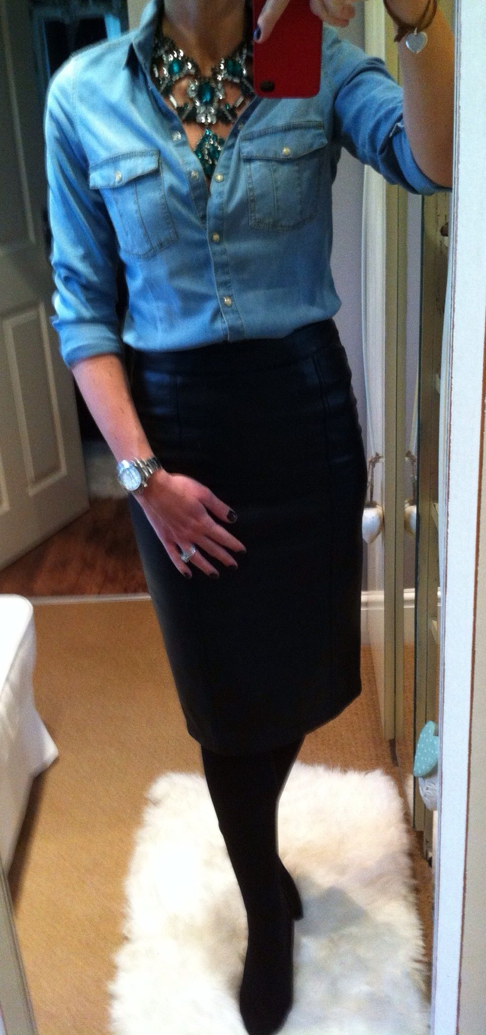 Bling with Zara denim shirt & Next faux leather pencil skirt